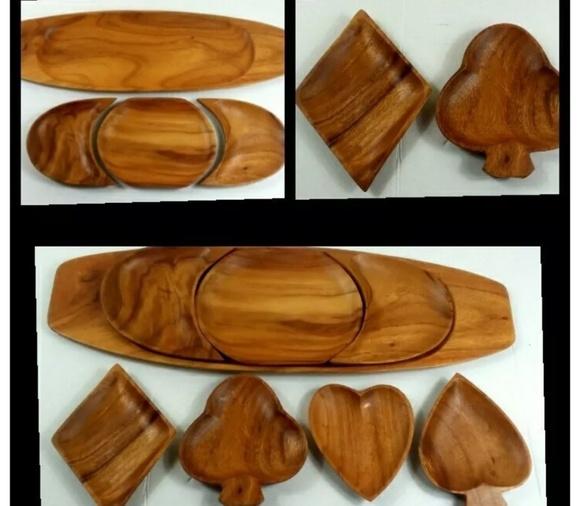 Wood Set Tray & Bowls Shaped Like Card Suits